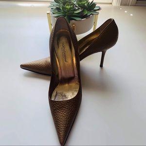Dolce & Gabbana Bronze Textured Pointed Toe Pumps